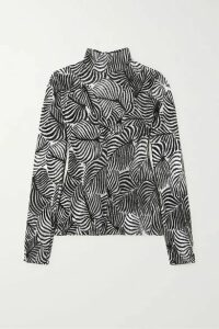 Paco Rabanne - Flocked Lamé Turtleneck Top - Silver