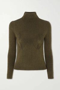 Mara Hoffman - + Net Sustain Mida Ribbed Stretch-modal Turtleneck Sweater - Army green