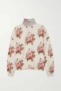 Paco Rabanne - Lurex-trimmed Floral-print Wool-blend Turtleneck Top - Cream