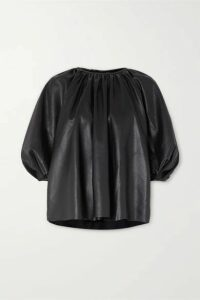 Frankie Shop - Gathered Faux Leather Top - Black