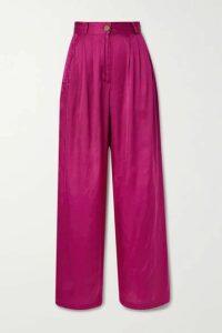 AVAVAV - Pleated Satin Wide-leg Pants - Pink