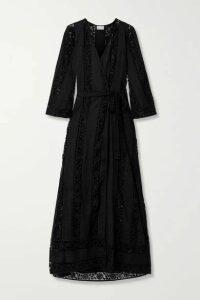Miguelina - Lucinda Cotton Guipure Lace Robe - Black