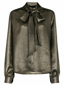 Saint Laurent mosaic lamé pussybow blouse - Metallic
