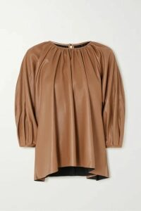 Frankie Shop - Gathered Faux Leather Top - Camel