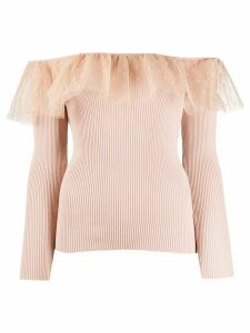 RedValentino off-the-shoulder knitted top - PINK
