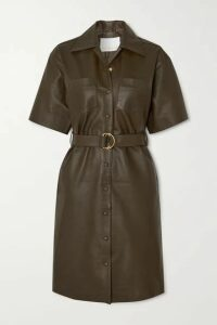 REMAIN Birger Christensen - Puglia Belted Leather Dress - Army green