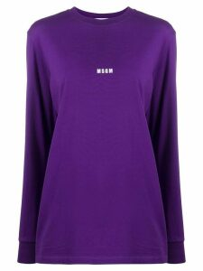 MSGM mini logo-print long-sleeved T-shirt - PURPLE