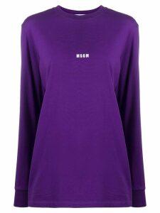 MSGM mini logo-print long-sleeved T-shirt - PURPLE