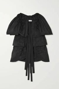 Dries Van Noten - Caesar Tie-front Tiered Gathered Taffeta Blouse - Black