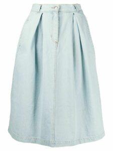 Société Anonyme light wash pleated denim skirt - Blue