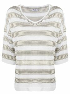 Brunello Cucinelli striped knit top - White