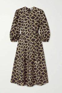 Rebecca Vallance - Acacia Paneled Printed Linen-blend Midi Dress - Brown
