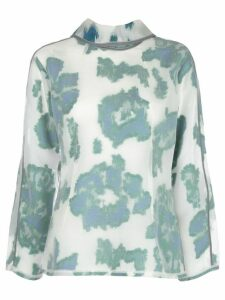 3.1 Phillip Lim LS FIL COUPE ABSTRACT DAISY TOP - White
