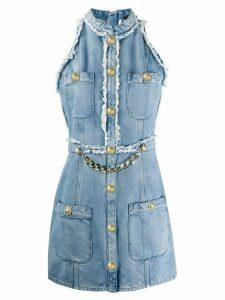 Balmain chain-embellished sleeveless denim dress - Blue