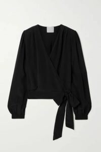 forte forte - Crepe De Chine Wrap Top - Black