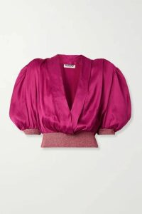 AVAVAV - Wrap-effect Metallic Stretch Knit-trimmed Satin Blouse - Magenta