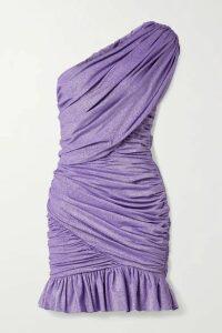 Redemption - One-shoulder Ruched Metallic Stretch-jersey Mini Dress - Lavender