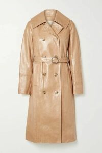 Yves Salomon - Cracked Patent-leather Trench Coat - Peach