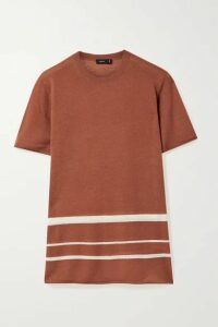 Joseph - Striped Stretch-cashmere T-shirt - Brick