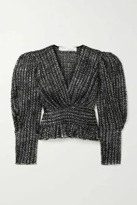 IRO - Guarda Frayed Metallic Bouclé-tweed Top - Black
