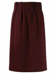Aspesi silk straight fit skirt - Red