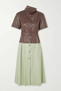 Andersson Bell - Emma Belted Two-tone Faux Leather Midi Dress - Brown