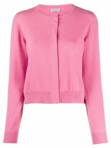Brunello Cucinelli concealed button ribbed-knit cardigan - PINK