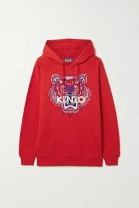 KENZO - Embroidered Cotton-jersey Hoodie - large