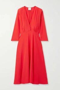 forte forte - Crochet-trimmed Crepe Midi Dress - Tomato red