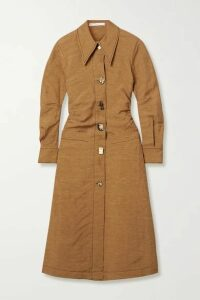 REJINA PYO - Paula Ruched Woven Midi Dress - Light brown