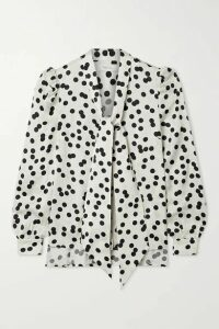 Racil - Solange Pussy-bow Polka-dot Satin-jacquard Blouse - Off-white