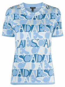 Escada logo print short sleeve top - Blue