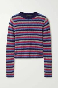 The Elder Statesman - Ribbed Striped Cashmere Sweater - Blue