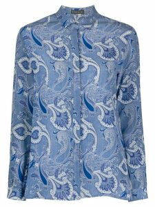 Etro long sleeve paisley-print silk shirt - Blue