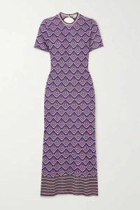 Paco Rabanne - Metallic Intarsia Knitted Midi Dress - Purple