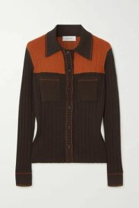 Wales Bonner - Two-tone Ribbed-knit Shirt - Brown