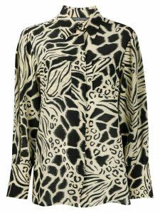 Alberta Ferretti long sleeve animal-print silk shirt - NEUTRALS