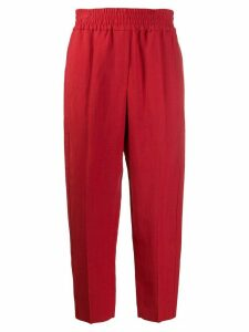 Brunello Cucinelli cropped ruched waistband trousers - Red