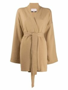 Natasha Zinko recycle knit belted cardigan - NEUTRALS