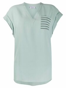 Brunello Cucinelli V-neck patch pocket silk T-shirt - Blue