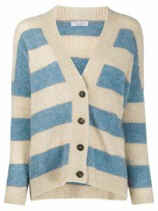 Brunello Cucinelli deep V-neck striped knit cardigan - NEUTRALS