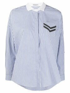 Brunello Cucinelli embellished pocket striped shirt - Blue