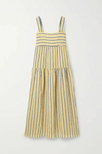 Three Graces London - Cosette Tiered Striped Cotton And Linen-blend Gauze Maxi Dress - White