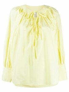L'Autre Chose front tie poplin blouse - Yellow
