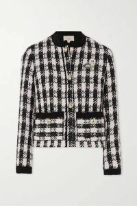 Maje - Vicky Houndstooth Cotton-blend Tweed Jacket - Black