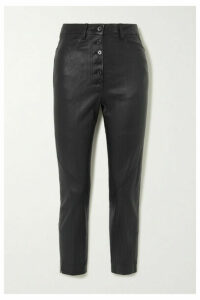 Ann Demeulemeester - Cropped Lace-up Leather Skinny Pants - Black