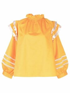 Cynthia Rowley Elia scalloped embroidered top - Yellow