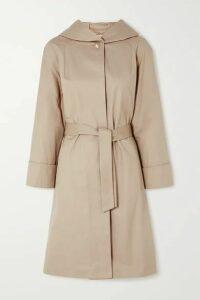Maje - Hooded Belted Cotton Coat - Camel
