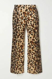 Mugler - Cropped Leopard-print Cotton-blend Flared Pants - Leopard print