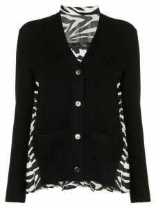 Sacai contrast-panel V-neck cardigan - Black